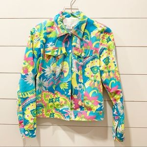 Maggy London Jackets & Coats - MAGGY LONDON 70's Retro Print Lightweight Jacket